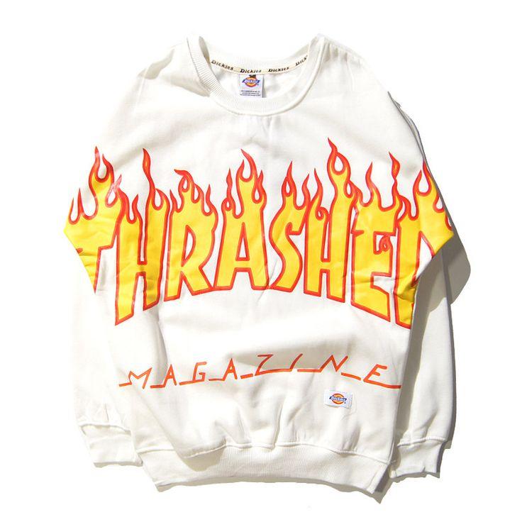 Thrasher Sweatshirt Men Hoodies Hip Hop Fashion Pullover Bat Sleeve Kanye West Skateboard Hoody Fleece Tracksuit ZOOTOP BEAR