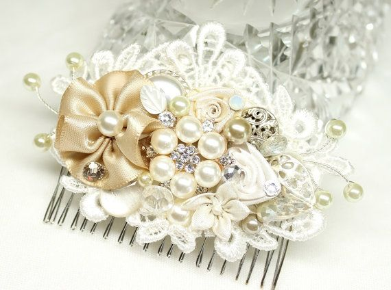 Hey, I found this really awesome Etsy listing at https://www.etsy.com/listing/181023769/champagne-ivory-bridal-hair-comb-wedding