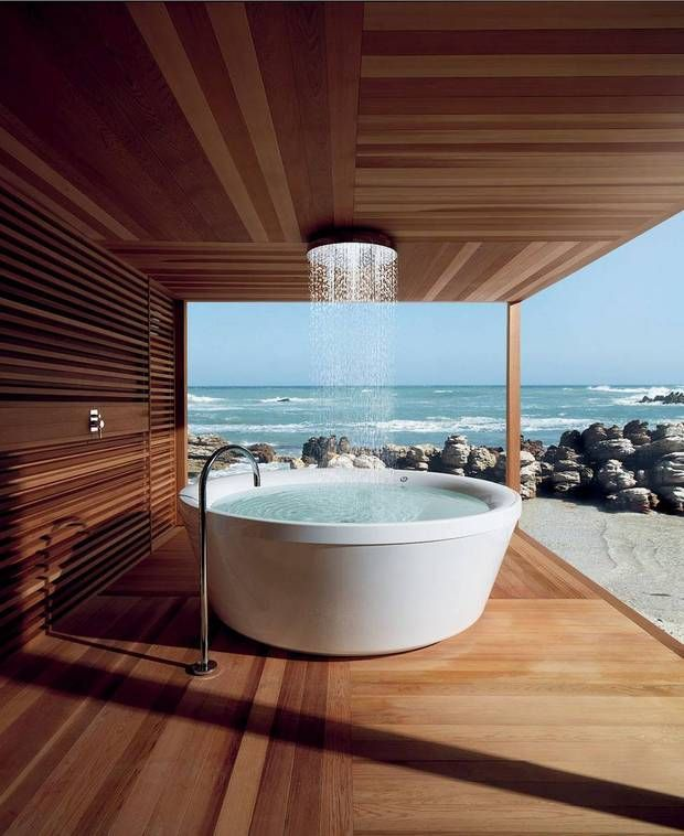 tub shower with beach view.  now where do I put my wine?