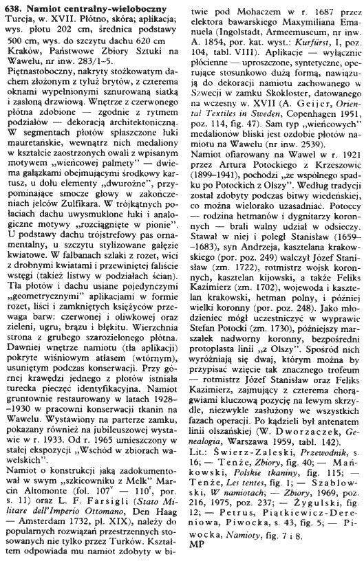 """3. - opis namiotu nr 638 """" Opis z książki: """"Odsiecz wiedeńska 1683. Wystawa jubileuszowa w Zamku Królewskim na Wawelu w trzechsetlecie bitwy. Tło historyczne i materiały źródłowe"""" t. 1."""""""
