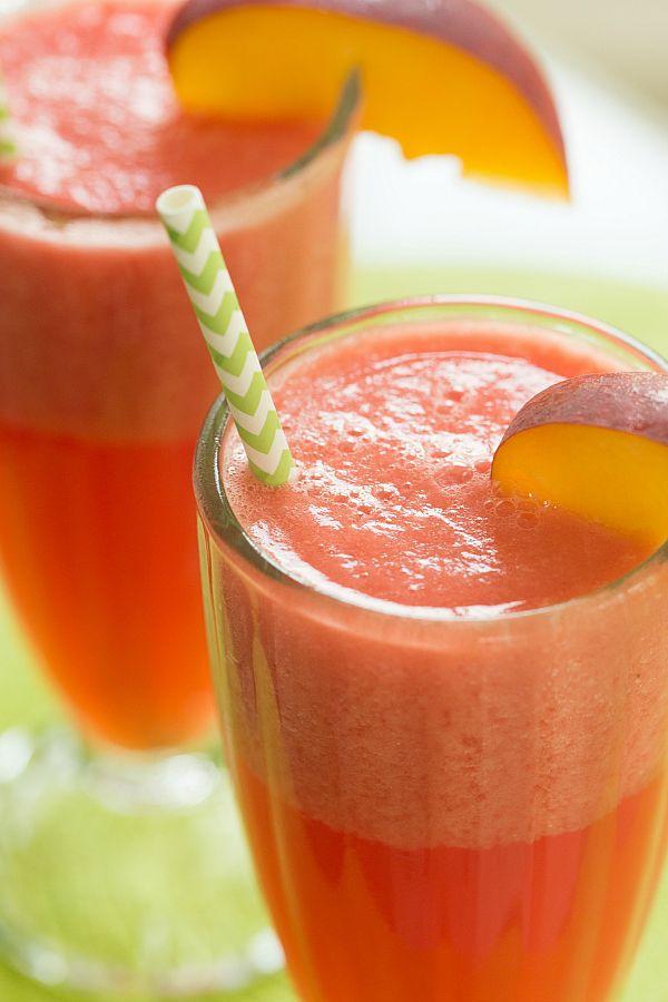 Watermelon-Peach Slushies | browneyedbaker.com #recipe #summer #drinks