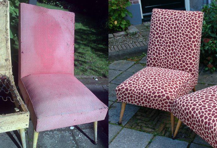 Twee jaren 50 stoeltjes uit Frankrijk, binnenwerk compleet vernieuwd en bekleed met retro stof in giraffeprint.