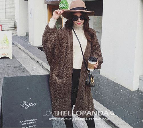Long Knit Cardigan V-neck Split Loose Sweater