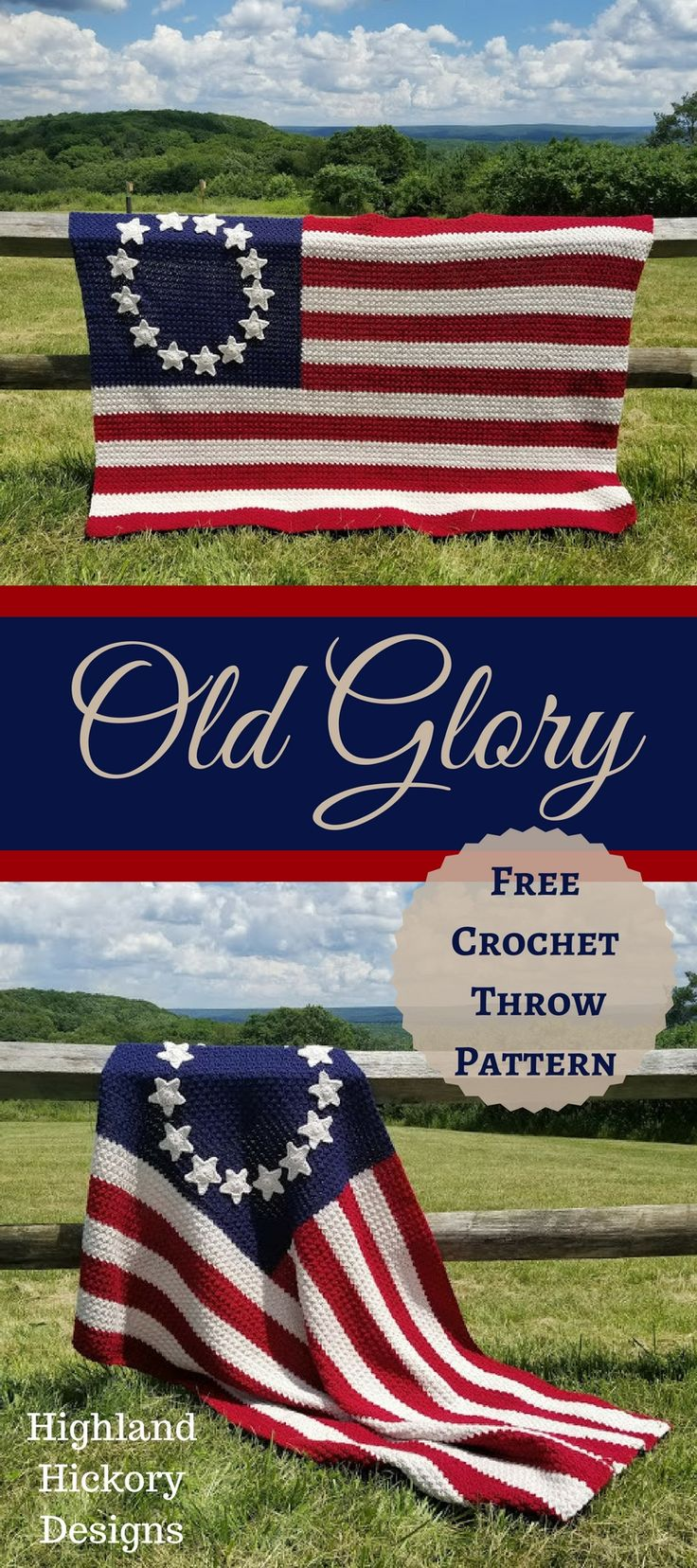 Old Glory free crochet Afghan pattern