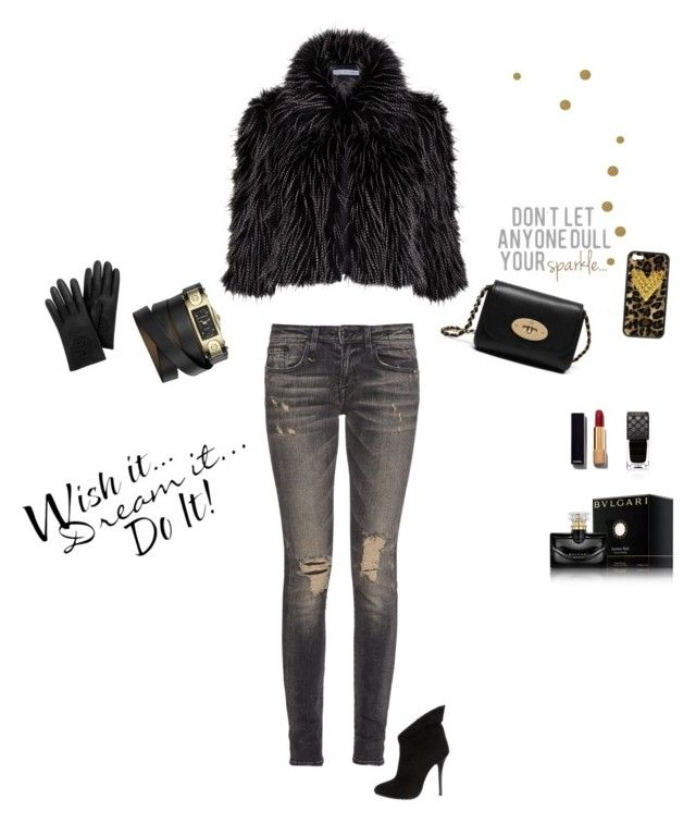 """Night out"" by ellenrob on Polyvore featuring Gina Bacconi, R13, Mulberry, Giuseppe Zanotti, Givenchy, Gucci, Chanel, Bulgari and Wildflower"