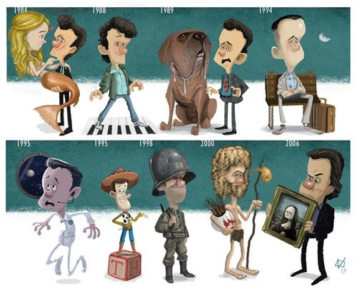 Illustrated Tribute to Tom Hanks by Jeff Victor    Allen Bauer, Splash (1984) Josh Baskin, Big (1988) Detective Scott Turner, Turner & Hooch (1989) Forrest Gump, Forrest Gump (1994) Jim Lovell, Apollo 13 (1995) Voice of Woody, Toy Story (1995) Captain Miller, Saving Private Ryan (1998) Chuck Noland, Cast Away (2000) Robert Langdon, The Da Vinci Code (2006)