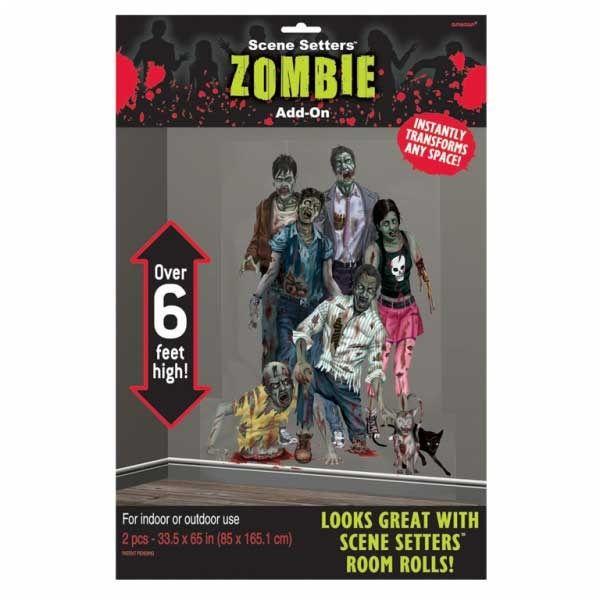Halloween Zombier Vægdekoration Add Ons. En skræmmende dekoration med zombier. Hurtig, flot og nem dekoration til Halloween, sættes op med lim, tape, elefantsnot eller hæfteklammer på døre, vinduer eller vægge. Findes hos MinTemaFest.dk