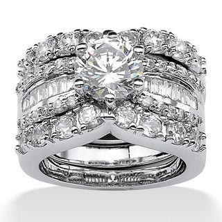 overstockcom ultimate cz platinum over silver cubic zirconia wedding ring set - Overstock Wedding Rings