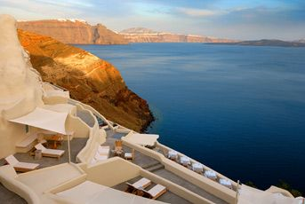 Mystique, Santorini. Exclusive retreat with 22 suites and villas built on Oia's most famous cliffs. #SPG, #travel, #romantic, #memberfav