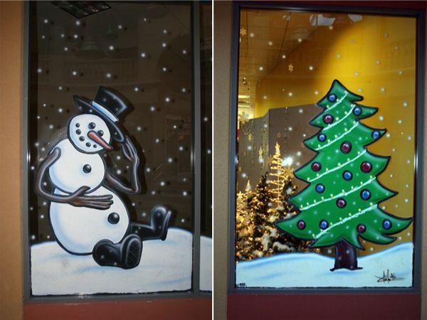 Holiday Window Painting Ideas | ... Plaza Christmas, Frosty the Snowman | Window Painting - Danville, CA