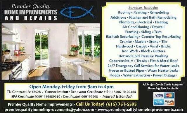 Premier Quality Home Improvements offer flexible finance Call us - home remodeling contract