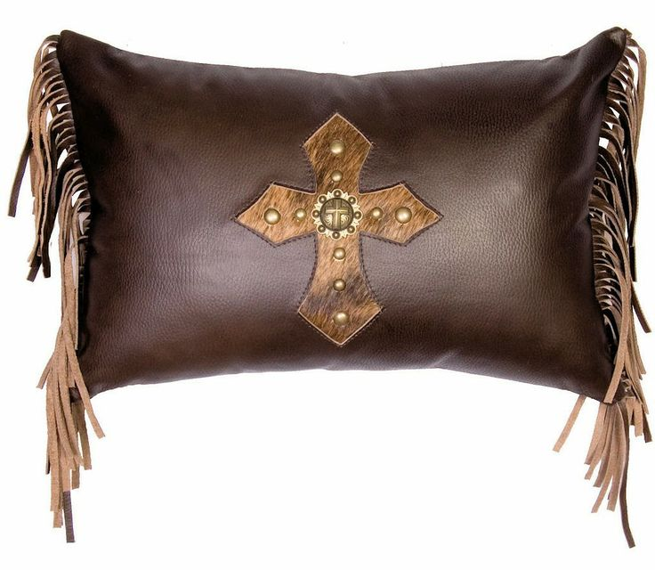 Mesa Espresso Leather Fringed Cross Pillow Jhe S Log