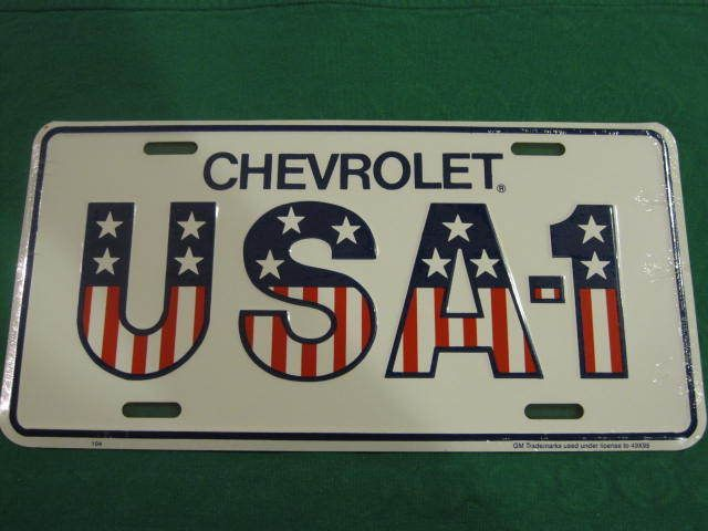 CHEVROLET USA-1 LICENSE PLATE AMERICAN FLAG SIGN L97  | eBay