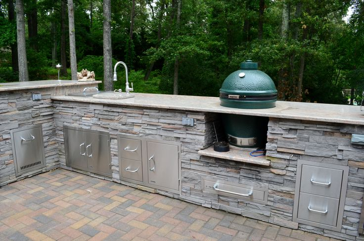 Outdoor Stone Sink : , MD; cultured stone veneer, big green egg, outdoor sink, granite ...