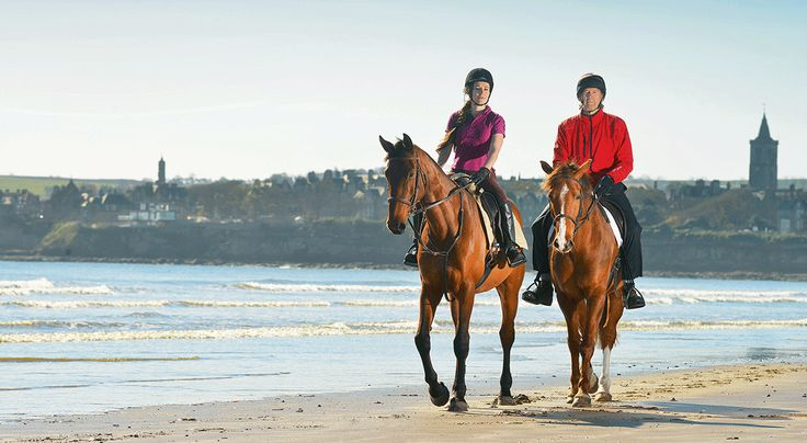Actor Clive Russell goes for a hack on West Sands beach, St Andrews. Copyright EQy magazine