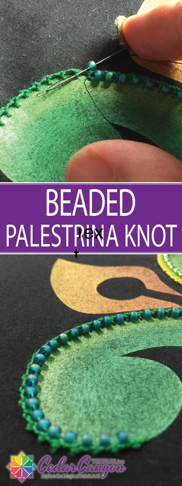Did you know you can add beads to hand embroidery after the stitching is done? See how fabric artist Shelly Stokes creates Beaded Palestrina Knots.