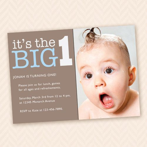 The Big 1 First Birthday Party Photo Invitation Unisex