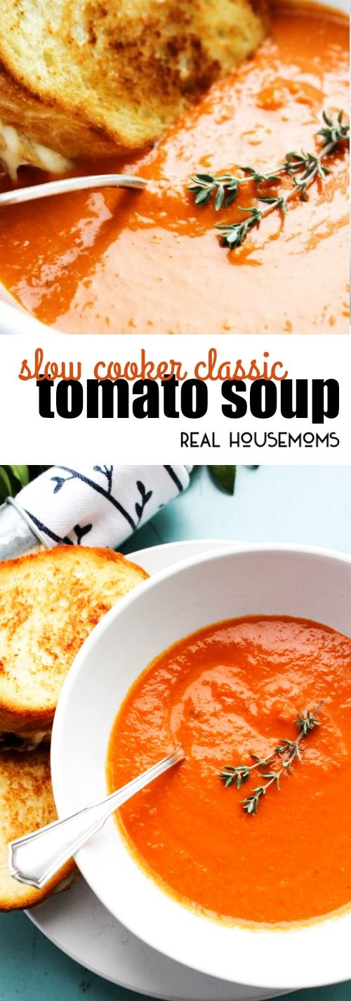 Slow Cooker Classic Tomato Soup a creamy, rich and vibrant soup. A traditional classic made easy in the crock pot! via @realhousemoms