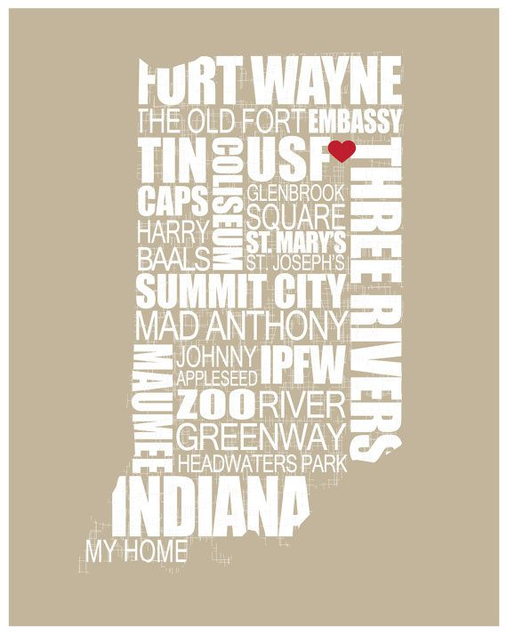 "City Print - Fort Wayne, Indiana - 8"" x 10"" - PRINT ONLY - available in many colors. Great gift."