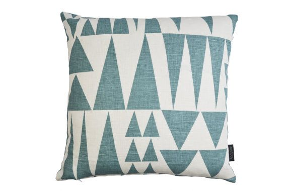 Scandinavian Swedish Geometric fabric contemporary cushion cover - Jazz Blue