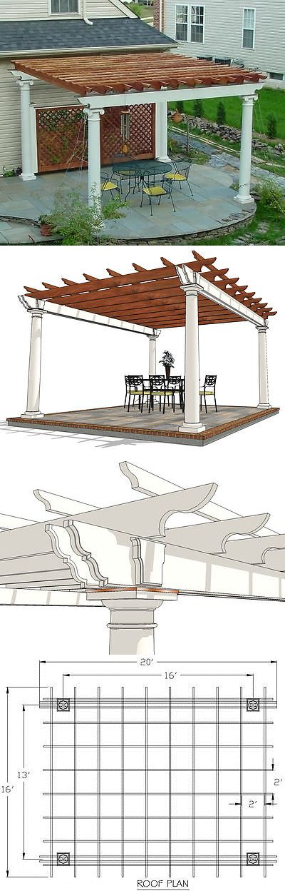Building Plans and Blueprints 42130: Patio Or Deck Pergola With Tuscan Column Design 20 X 16 Plans -> BUY IT NOW ONLY: $45 on eBay!