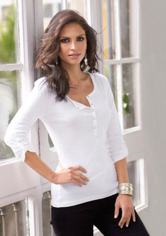 Tričko s patentkovou légou a 3/4 rukávmi #ModinoSK #top #basic #fashion #style