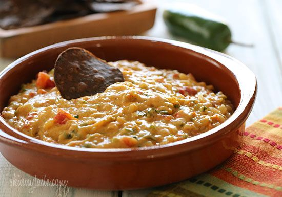 Skinny Queso Dip - Get the chips ready, this stuff is good while it's hot! #vegetarian