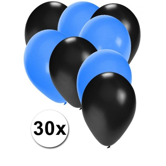Zwarte en blauwe ballonnen 30 stuks  30 stuks ballonnen in de kleuren zwart en blauw. Van elke kleur 15 ballonnen leuk voor verjaardagen en themafeesten. Formaat is ongeveer 27 cm. Goede kwaliteit.  Dit artikel bestaat uit: 1x Blauwe ballonnen 15 stuks 1x Zwarte ballonnen 15 stuks  EUR 2.99  Meer informatie
