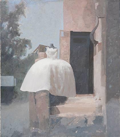 Edi Hila  On the Street - The Wedding Dress  Oil on canvas  91.5 x 103.5 cm   Courtesy the artist and JGM Galerie