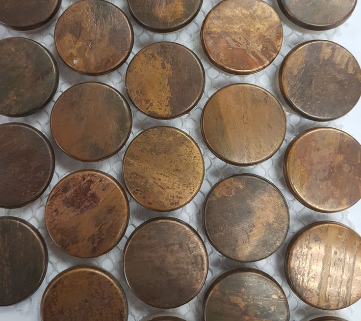 Copper penny rounds tile warehouse house renovation for Copper tile pennies