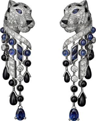 PANTHÈRE DE CARTIER EARRINGS | French | Platinum, sapphires, onyx, diamonds | by Cartier, Paris |
