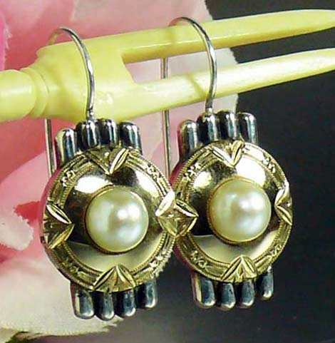 ENDS TOMORROW, EXCEPTIONAL! Art Deco Gold Silver Cultured Pearl Pierced Drop Earrings Not Scrap 6.4 gr FAB!