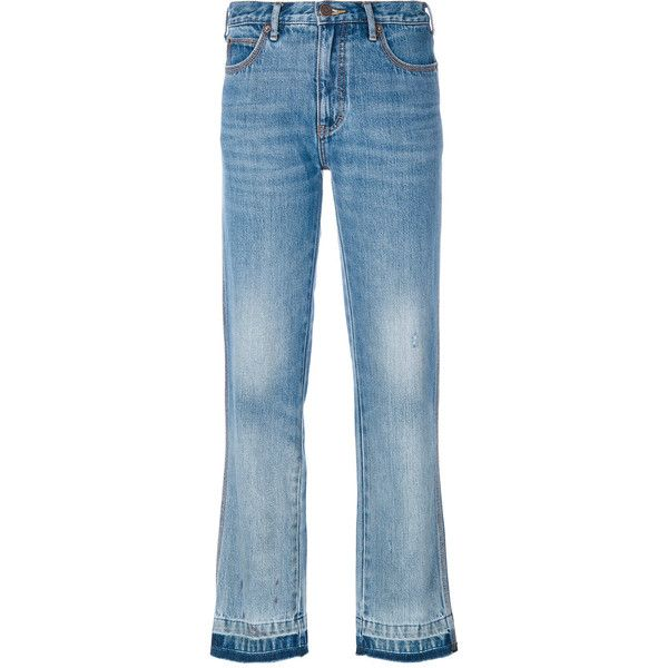Marc Jacobs classic light-wash jeans (20,480 INR) ❤ liked on Polyvore featuring jeans, blue, marc jacobs, acid wash jeans, button-fly jeans, light wash jeans and light jeans