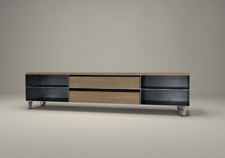design metallmoebel tv sideboard mit rollen kaminholz aufbewahrung aus stahl holz eiche. Black Bedroom Furniture Sets. Home Design Ideas