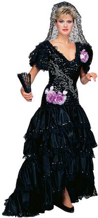 Super Deluxe Black Spanish Beauty Adult Costume – Mexican or Spanish Costumes
