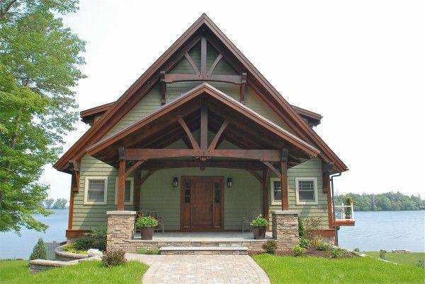 Exterior photo of a douglas fir Woodhouse timber frame home