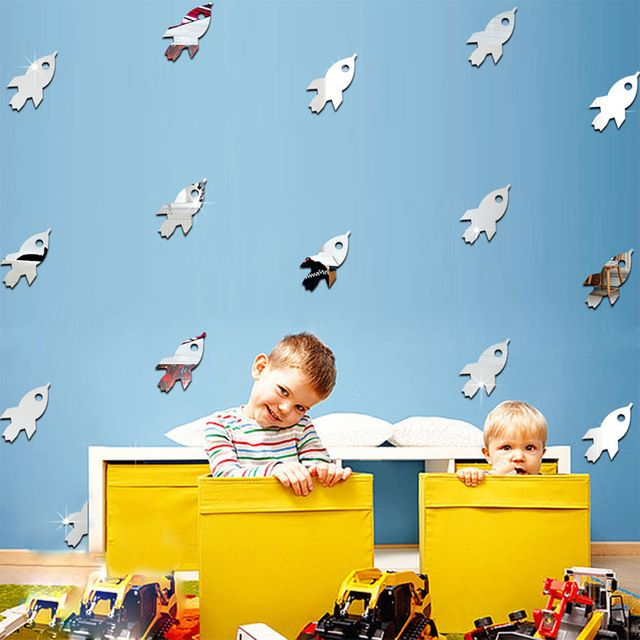 DIY Removable Rocket Spaceship Wall Mirror Stickers Decal Livingroom Home Decor