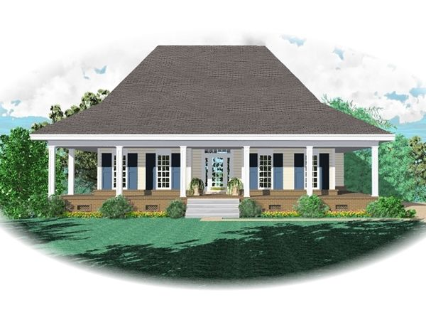 Floorplans with wraparound porches acadian style house for Single level home with wrap around porch