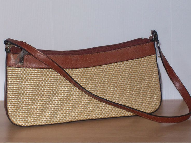 Arthur & Aston Brown classic leather and woven underarm/baguette bag