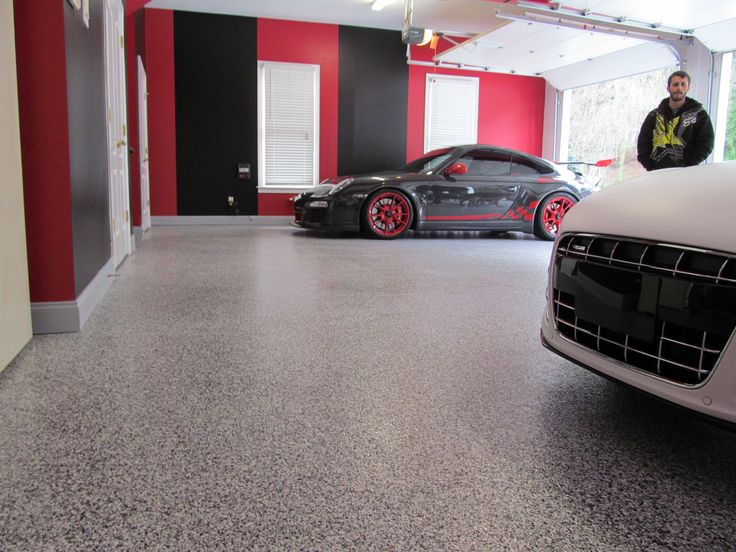 Tuxedo flake floor man cave garage flooring pinterest for Man cave garage floor ideas