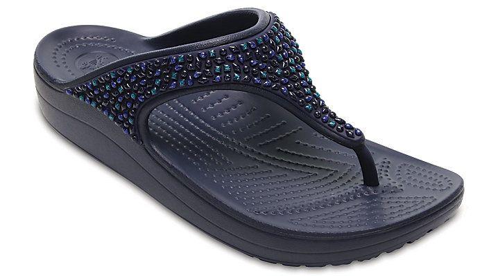 Crocs Sloane Platform Sandals Womens Croslite Foam Heeled Toe Post Flip Flops