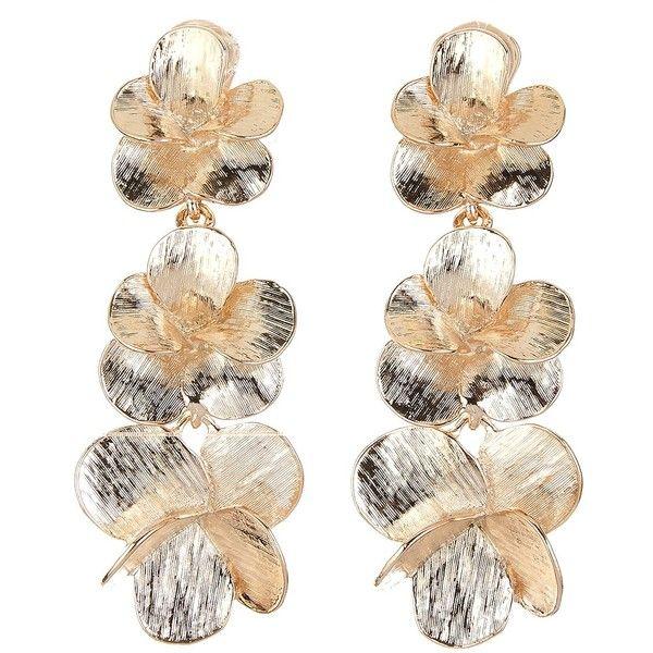 Oscar de la Renta Brushed Flower Long Drop Earrings (940 BRL) ❤ liked on Polyvore featuring jewelry, earrings, nickel free earrings, nickel free jewelry, flower drop earrings, nickel free clip on earrings and clip back earrings