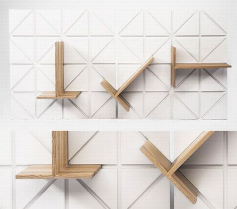 """modular shelf. Clever idea, demands a wall, so make the """"wall"""" in square sections to link together. Different wood colours and backing that can be painted and therefore not wooden."""