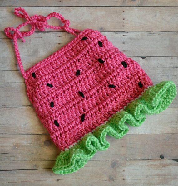 Crochet Watermelon Halter Top Crop Top Tank Top by CubbyCreations