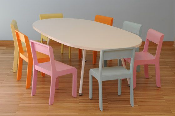 Table oval top by PLAY+   Classroom desks
