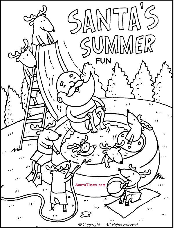 Santas Summer Fun Printable Coloring Page More Santa Activities At SantaTimes
