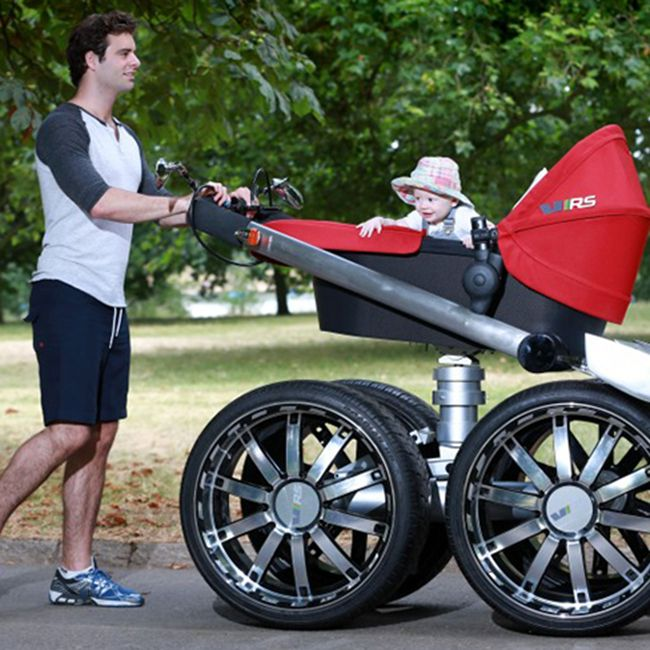 Dads who have found themselves wishing their baby's stroller had a bit more muscle may like auto maker Skoda's latest inspiration. It's called the Mega Man-Pram, and it looks like a jacked-up baby carriage on steroids, with hydraulic suspension, 20-inch alloy wheels and a headlight.