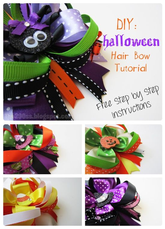 DIY Halloween Hair Bow Tutorial.... Going to attempt these for Miss Emry