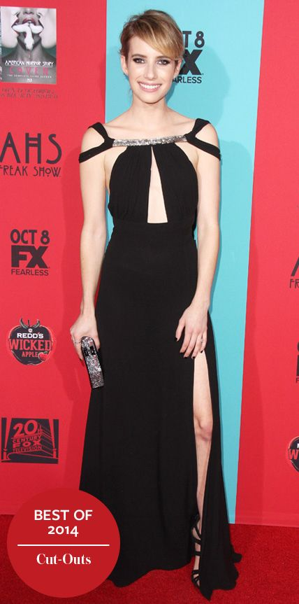 Look of the Day - December 25, 2014 - Emma Roberts in Saint Laurent from #InStyle