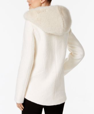 Laundry by Shelli Segal Faux-Fur-Hood Coat - Ivory/Cream XXL